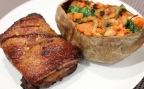 Crispy Skin Pork Belly with Stuffed Sweet Potato
