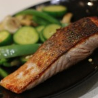 Crispy Skin Salmon with Stir Fried Vegetables and Cashew Nuts