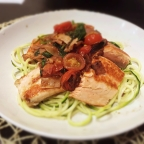 Pan Seared Salmon with Tomato Basil