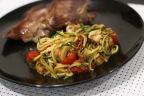 Mushroom and Tomato Zucchini Noodles